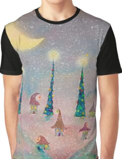 Christmas Night Village in the Snow Graphic T-Shirt