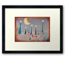Christmas Night Village in the Snow Framed Print