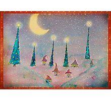 Christmas Night Village in the Snow Photographic Print