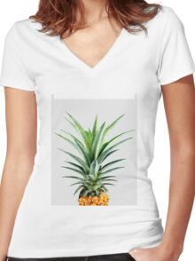 Pineapple V2 #redbubble #fashion #lifestyle #tech #home Women's Fitted V-Neck T-Shirt
