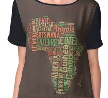 Africa Typography Map All Countries Chiffon Top