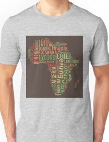 Africa Typography Map All Countries Unisex T-Shirt
