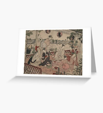 The restaurant Shikian of Nakazu - Shunman Kubo - 1784 Greeting Card