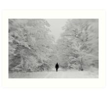 Man walking trough winter forest with snow Art Print