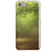 Green natural forest with fog iPhone Case/Skin