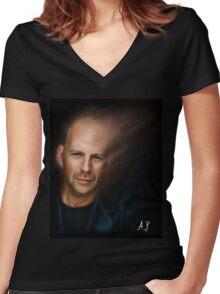 Bruce Willis Women's Fitted V-Neck T-Shirt