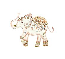CUTE WATERCOLOR ELEPHANT by Monika Strigel Photographic Print