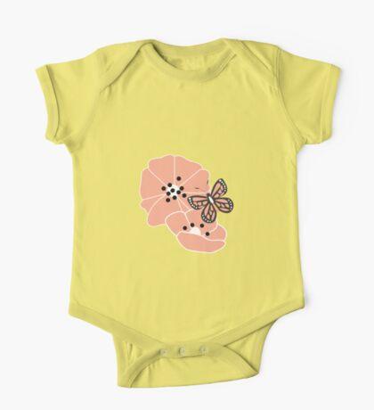 Butterflies and flowers pattern 001 One Piece - Short Sleeve