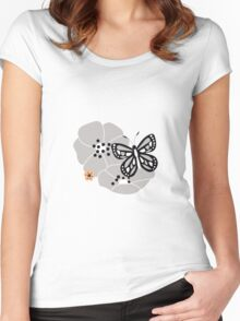 Butterflies and flowers pattern 002 Women's Fitted Scoop T-Shirt