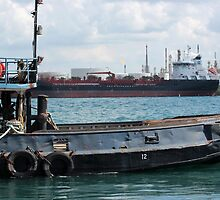 Tug and Freighter by marybedy