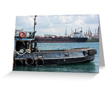 Tug and Freighter Greeting Card
