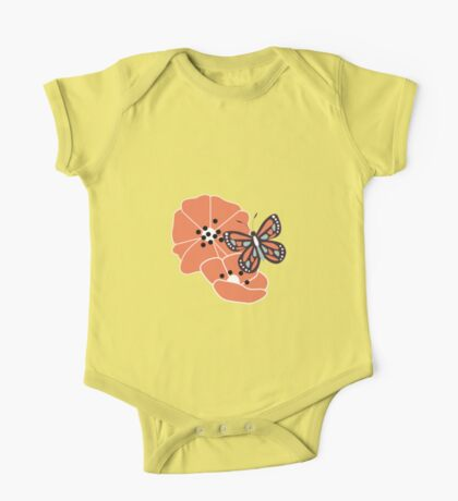 Butterflies and flowers pattern 004 One Piece - Short Sleeve