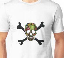 Black skull with flowers inside Unisex T-Shirt