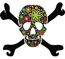 Black skull with flowers inside Photographic Print