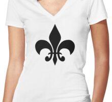 Fleur De Lis Women's Fitted V-Neck T-Shirt