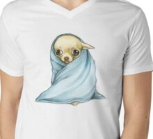 Chihuahua Wrapped in a Blanket Mens V-Neck T-Shirt