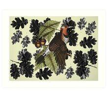 Woodpecker and Oak Art Print