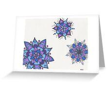 Blue Flower Mandalas Greeting Card