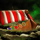 A Viking Longship Battling for Home by Dennis Melling