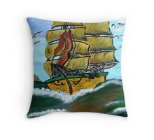 Columbus' Sailing Ships Throw Pillow