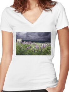 A Childs Dream Among Lupine Women's Fitted V-Neck T-Shirt