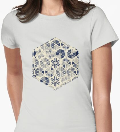 Hand Painted Triangle & Honeycomb Ink Pattern - indigo & cream Womens Fitted T-Shirt