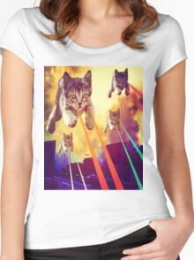 Cats With Laser Eyes Women's Fitted Scoop T-Shirt