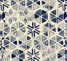 Hand Painted Triangle & Honeycomb Ink Pattern - indigo & cream by micklyn