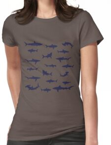 Different Sharks Silhouette Pattern Womens Fitted T-Shirt