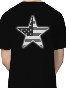 AMERICAN, STAR, Stars & Stripes, America, US, USA, BW on Black  Classic T-Shirt