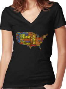 United States of America Map Star Spangled Banner Typography Women's Fitted V-Neck T-Shirt