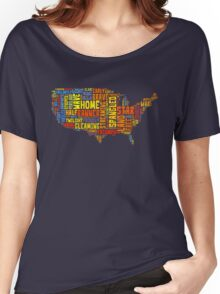 United States of America Map Star Spangled Banner Typography Women's Relaxed Fit T-Shirt