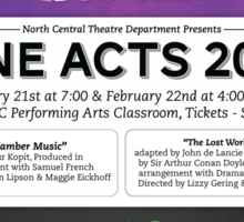 North Central Theatre presents ONE-ACTS 2013; CHAMBER MUSIC & THE LOST WORLD Sticker