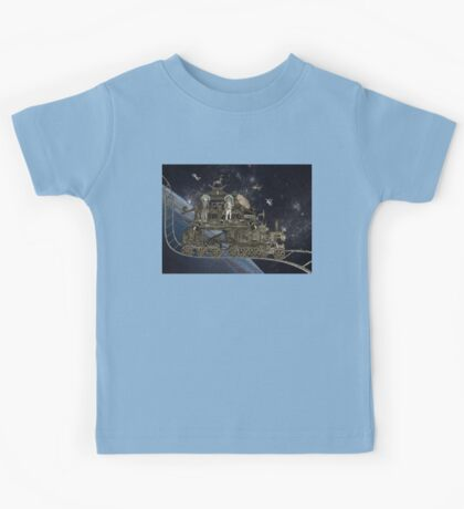 Space Cat Train Kids Tee