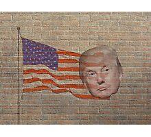 Trump Flag Brick Wall Faux Graffiti Style Photographic Print