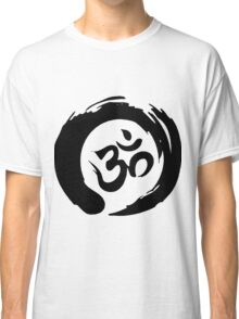 OM sign and symbol.Black and white symbol Classic T-Shirt