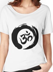 OM sign and symbol.Black and white symbol Women's Relaxed Fit T-Shirt