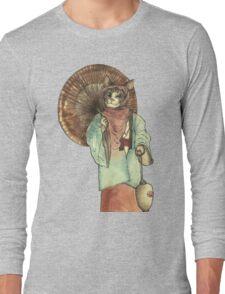 Umbrella Halfing Cat with Her Lantern Long Sleeve T-Shirt