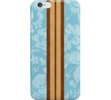 Sunset Beach Hawaiian Faux Koa Wood Surfboard - Aqua iPhone Case/Skin