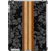 Sunset Beach Hawaiian Faux Koa Wood Surfboard - Black and Gray iPad Case/Skin