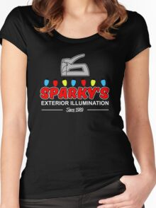 Sparky's Exterior Illumination Christmas lights Women's Fitted Scoop T-Shirt