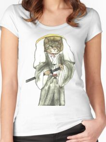 A Halfing Samurai Cat with One Green Eye and One Yellow Eye Women's Fitted Scoop T-Shirt