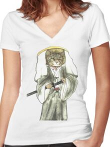 A Halfing Samurai Cat with One Green Eye and One Yellow Eye Women's Fitted V-Neck T-Shirt