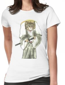 A Halfing Samurai Cat with One Green Eye and One Yellow Eye Womens Fitted T-Shirt