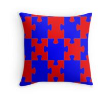 Red and Blue Puzzle Throw Pillow