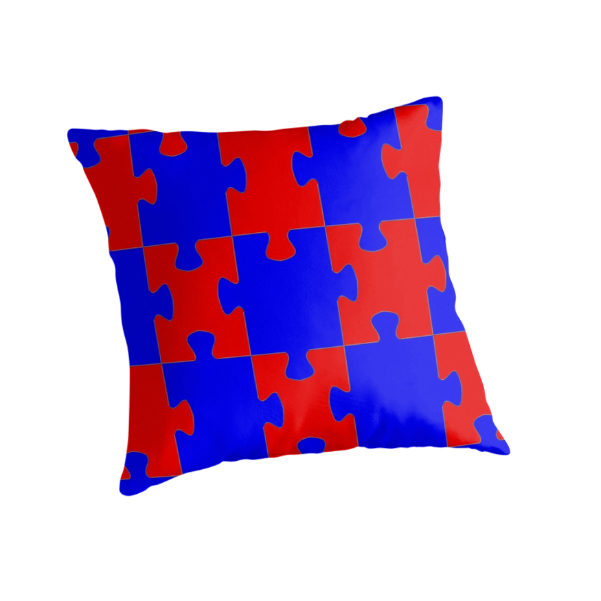 Blue Red Throw Pillow :
