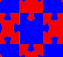 Red and Blue Puzzle Sticker