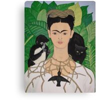 Frida with Monkey and Cat Canvas Print