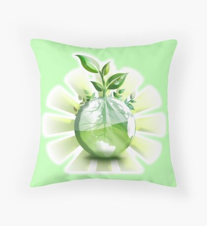 Ecology, Earth science, Environment, Eco, Ecosystems, Green Throw Pillow