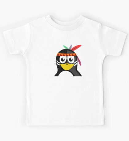 Penguin as Native American  Kids Tee